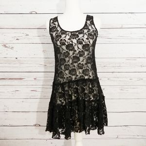 Free people black lace floral overlay dress DB2
